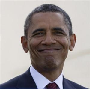 zambet cu buzele lipte - Obama